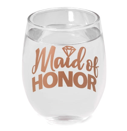 This pretty rose gold stemless wine glass holds 9oz. and makes a great gift that the Maid of Honor will treasure to remember this time.