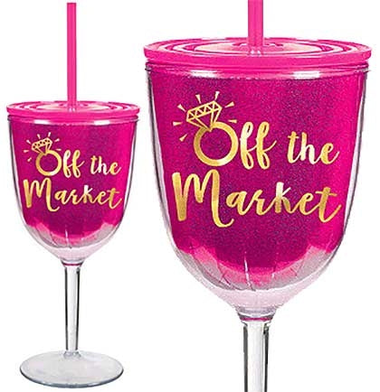 "Celebrate with this durable 8"" tall plastic wine glass that says Off The Market and comes with a pink plastic cover and pink straw."