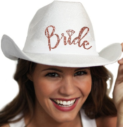 Western Rose Gold Bride White Hat
