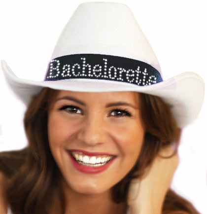 Western White Bachelorette Hat with Black Band