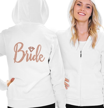 Bride Diamond Rose Gold Lightweight Hoodie