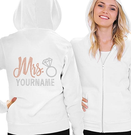 Mrs. Rose Gold Custom Name Fleece Hoodie