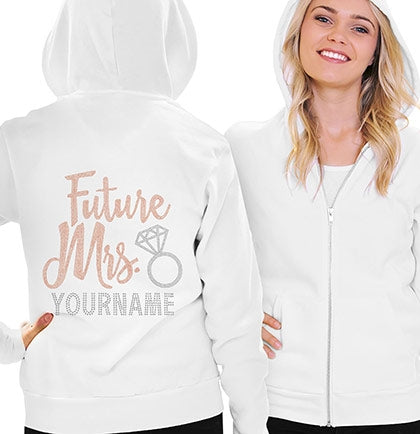Future Mrs. Rose Gold Custom Name Fleece Hoodie