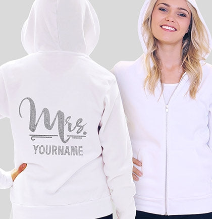 Foxy Mrs. Custom Rhinestone Fleece Hoodie