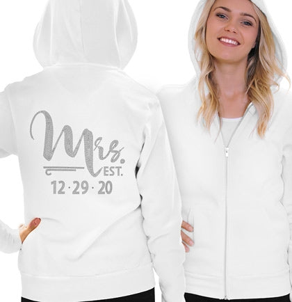 Foxy Mrs. & Wedding Date Custom Rhinestone Fleece Hoodie