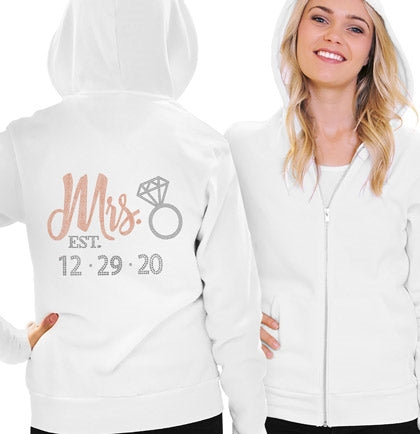 Rose Gold Mrs. & Wedding Date Custom Fleece Hoodie
