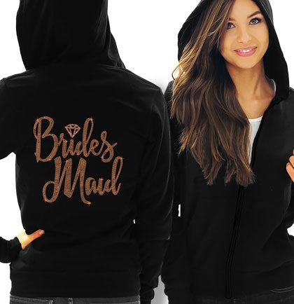 Bridesmaid Diamond Rose Gold Rhinestud Lightweight Hoodie