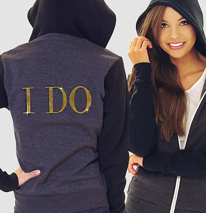 I Do Modern Fleece Hoodie: Charcoal & Black