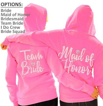 Bridal Party Diamond Fleece Hoodie: Electric Pink