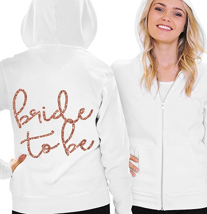 Lovely Bride To Be Rose Gold Glitter Fleece Hoodie