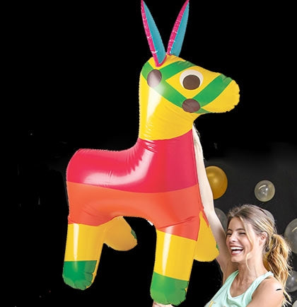 This Inflatable Fiesta Donkey is approximately 4 foot fully inflated and resembles a piñata.