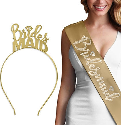 Bridesmaid Diamond Headband & Gold Sash Set