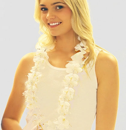 "This white 19"" long fabric  lei will look gorgeous on the Bride to Be and she will stand out wherever you go. Perfect for a tropical themed bachelorette party, bridal shower, wedding, pool party, or luau!"