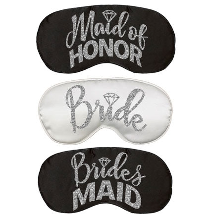 Bridal Party Silver Glitter Sleep Mask