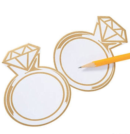 "This fun and practical 4"" Diamond Ring Sticky Notes are the perfect party favor to include in a goodie bag! At this price point the white paper with gold accents note pad is perfect to include several for the favor bags."