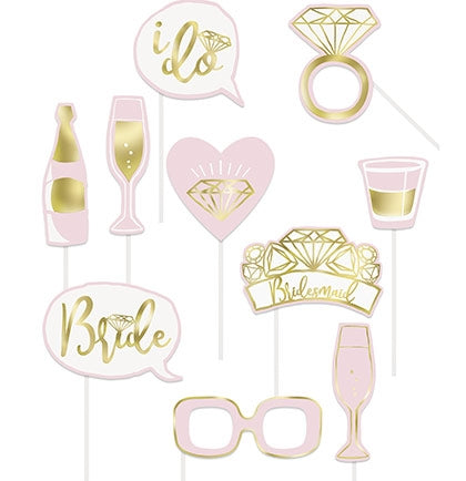 10pc Pink & Gold Photo Props
