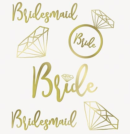 Set of 24 Gold Metallic Bridal Party Temporary Tattoos