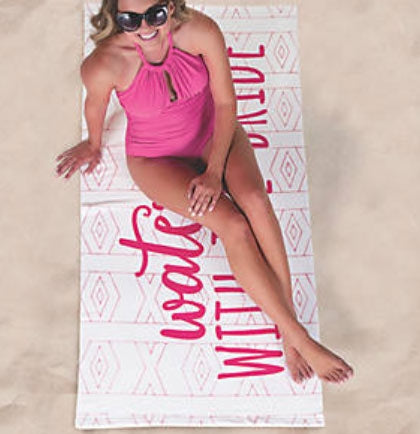 "If you're planning a bachelorette party at the beach or poolside then this fun white and hot pink beach towel is a must! This large 60"" x 30"" polyester beach towel says Waterside With The Bride in a bold hot pink."