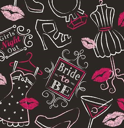 These cocktail napkins are perfect for a bachelorette party, bridal or lingerie shower. These napkins have girly icons like high heels, wedding rings, martinis and more. T