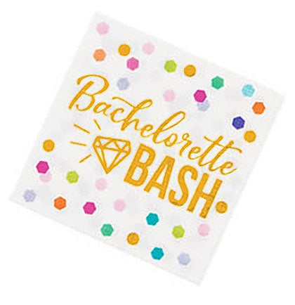 These napkins say Bachelorette Bash in gold lettering along with a diamond shape and colorful confetti. Pair the napkins with the rest of the collection to make a fun bold statement!