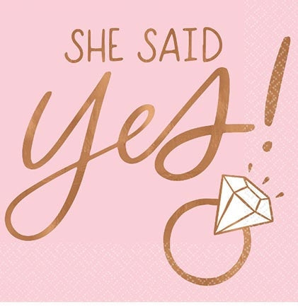 Now it's time celebrate the bride at the bridal shower or bachelorette party because She Said Yes! These rose gold cocktail napkins are perfect for a rose gold themed party!