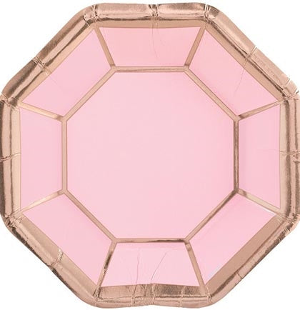 "These unique 7"" octagonal shaped rose gold dessert paper plates are perfect to use at a bachelorette party or a bridal shower!"