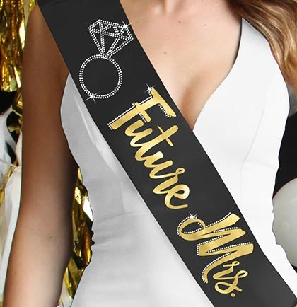 Future Mrs. with Ring Gold Foil & Rhinestone Sash