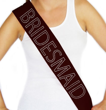 Bridesmaid Outline Rhinestone Sash - Black