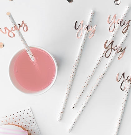 This set of 16 straws are white with rose gold polka dots and a straw slider that says YAY. The paper straws will be so much fun for the Bachelorette Party drinks.