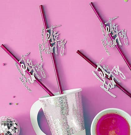 These fabulous straws are completely different from your typical paper straw. The hot pink metallic paper straw has a straw slider that says Let's Party in a fun iridescent silver.
