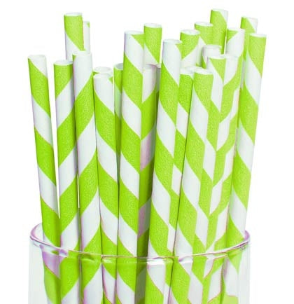 "These cool retro striped paper straws are hot right now! The straws will add a fun pop of color to your drinks. The 7.5"" long lime and white color will make a nice addition to any theme."