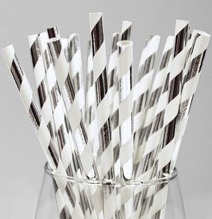 "This set of twenty-four metallic Silver and White are perfect for a bachelorette party or bridal shower. The 7.5"" long striped straw will be the perfect addition to the party drinks."
