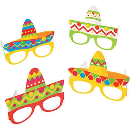 This set of four fun Fiesta Sombrero paper glasses are perfect for the party guests to wear at a Final Fiesta Bachelorette Party.