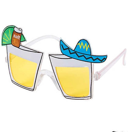 These plastic sunnies are shaped like tequila shots and accented with a sombrero hat, salt and a lime.