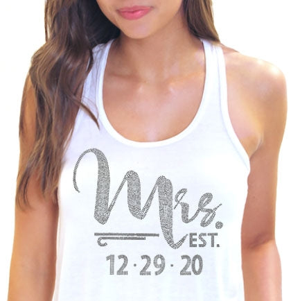 Foxy Mrs. Custom Wedding Date Rhinestone Flowy Tank
