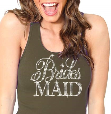 Flirty Bridesmaid Rhinestone Tank Top: Army Green