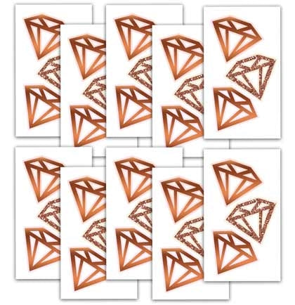 Set of 10 Rose Gold Diamonds Temporary Tattoo