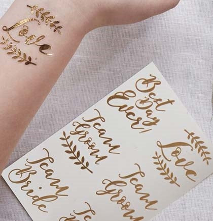 These temporary tattoos make the perfect bachelorette party accessory for all your guests. These rose gold tattoos say Best Day Ever, Love, Team Groom and Team Bride!