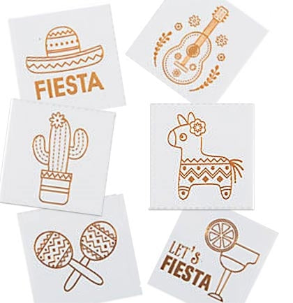 "These 2"" metallic gold temporary fiesta tattoos make the perfect bachelorette party accessory for the guests. Choose from different fun Fiesta shapes."