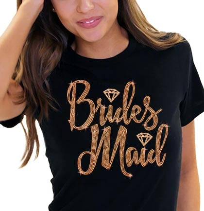 Bridesmaid Diamond Rose Gold Rhinestud Tee