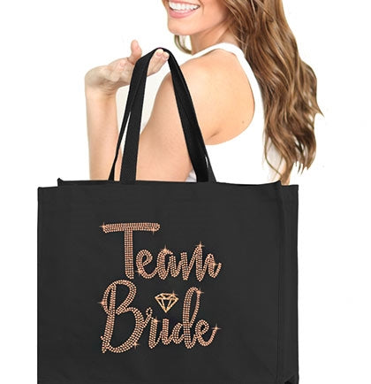 Team Bride Diamond Rose Gold Rhinestud Large Canvas Tote