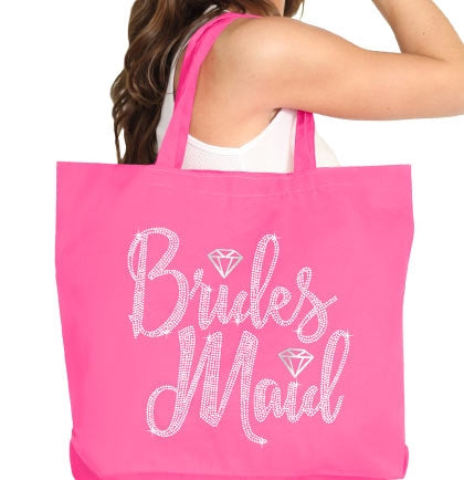 Bridesmaid Diamond Rhinestone Large Canvas Tote