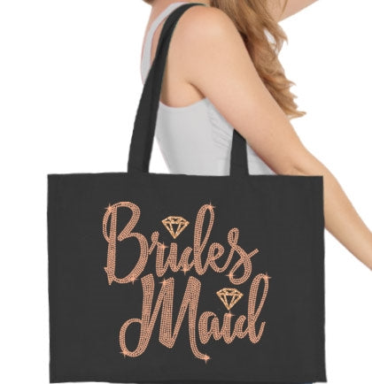 Bridesmaid Diamond Rose Gold Rhinestud Large Canvas Tote