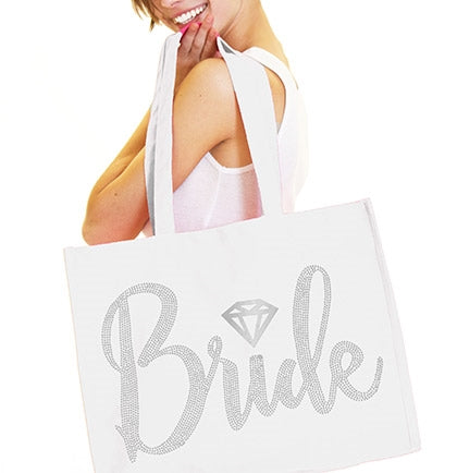 Bride Diamond Rhinestone Large Canvas Tote
