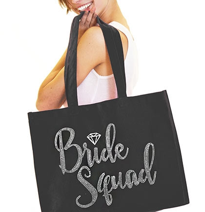 Bride Squad Diamond Rhinestone Large Canvas Tote