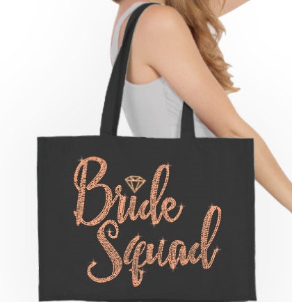 Bride Squad Diamond Rose Gold Rhinestud Tote Bag