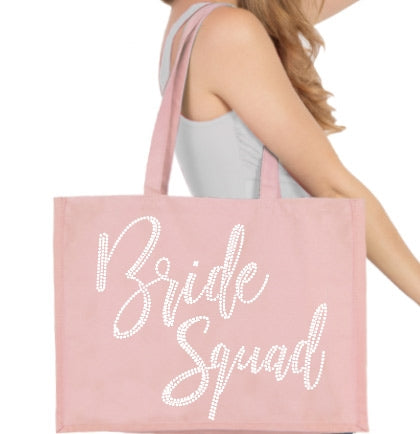 Bride Squad Glam White Stud Large Canvas Tote