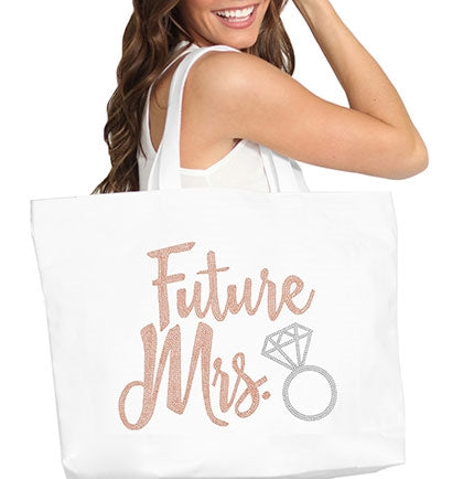 Future Mrs. Rose Gold Rhinestud w/Ring Large Canvas Tote