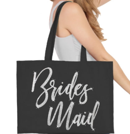 Bridesmaid Glam Rhinestone Large Canvas Tote