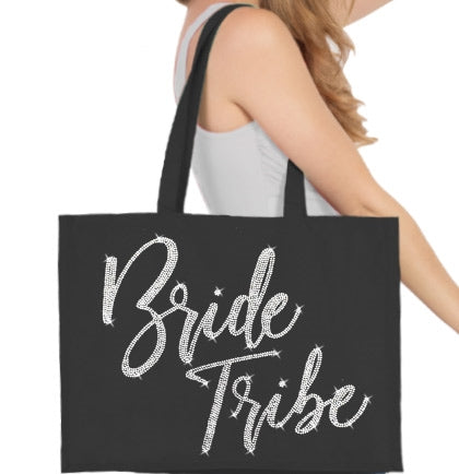 Bride Tribe Glam Rhinestone Large Canvas Tote